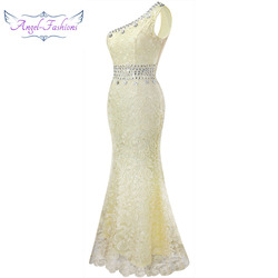 Angel-fashions One Shoulder See Through Crystal  Lace Wedding Dress Apricot 107 2