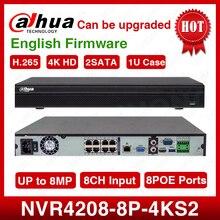 شحن مجاني DHL داهوا الأصلي NVR4208 8P 4kS2 8CH NVR 8MP 1U 8PoE 4K و H.265 لايت شبكة مسجل فيديو 2SATA مع شعار