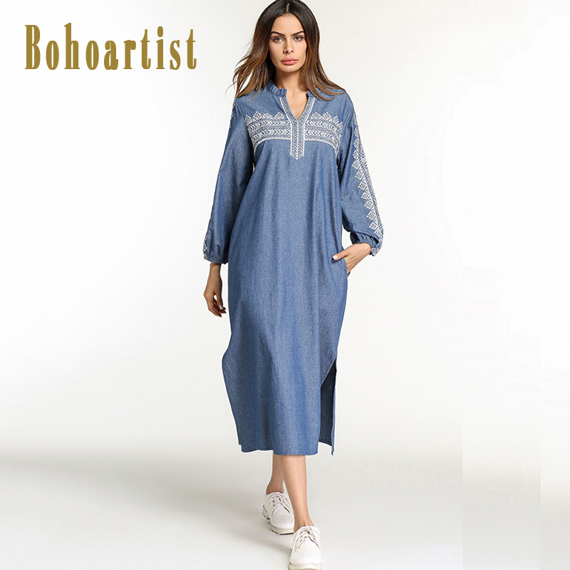Bohoartist Women Casual Dress Spring Embroidered Patchwork Straight Loose Dress Ladies Bohemian Indie Folk V Neck New Dresses