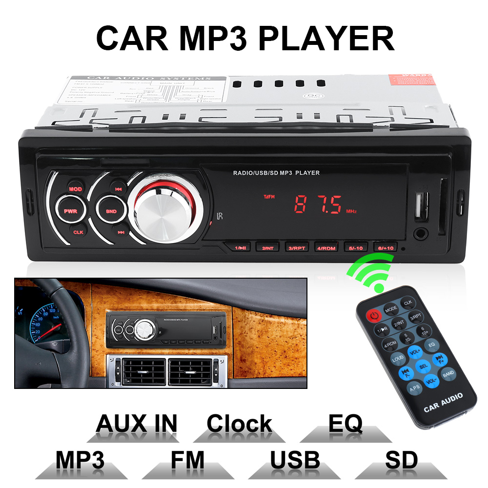 1 din led display car in dash stereo audio fm aux input. Black Bedroom Furniture Sets. Home Design Ideas