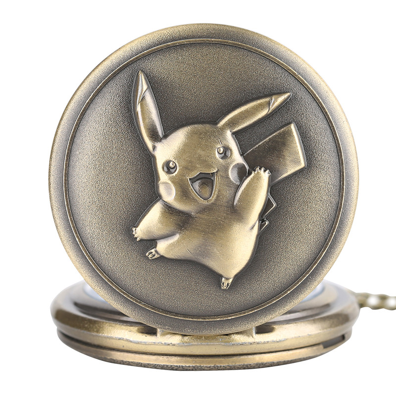 Popular Cartoon Pikachu Pendant Pocket Watch Full Hunter Pokemon Necklace Bronze Antique Men Women Boys Kids Chain Gifts Ulzzang