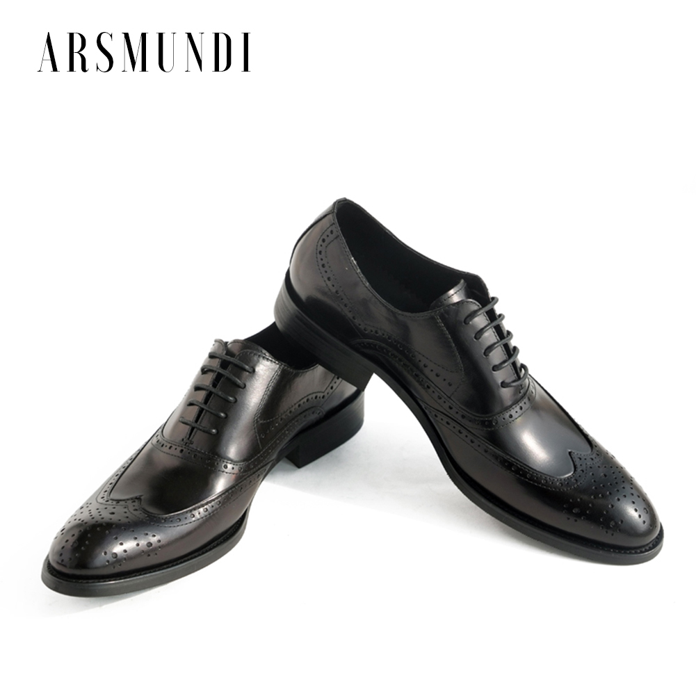 Men Genuine Leather Oxfords Dress Shoes Cowhide Leather Pig Inner Round Toe Wedding Business Shoes 2018 New Lace up