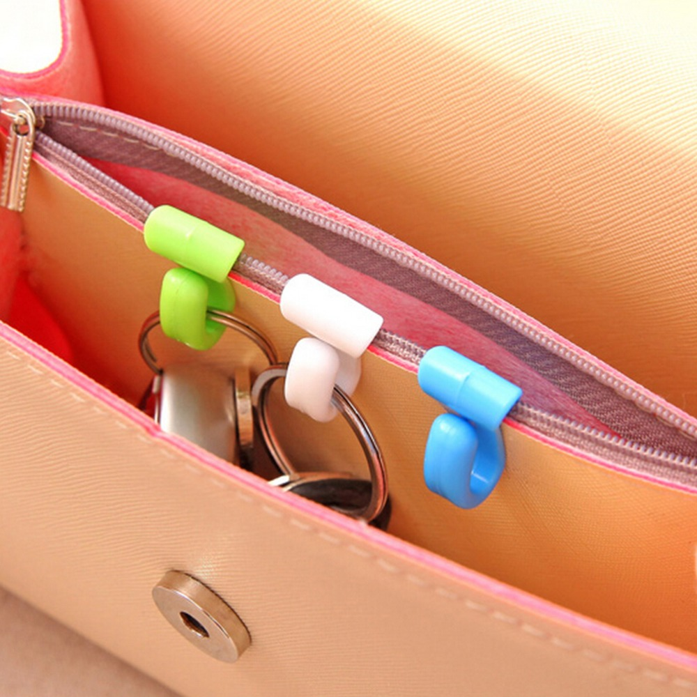 Beautiful 2pcs Plastic Home Novelty Mini Cute Anti-lost Hook Within The Bag Key Storage Holder Rack Robe Hooks Bathroom Accessories Bathroom Fixtures Robe Hooks