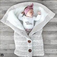 Детский спальный мешок, конверт, зимний детский спальный мешок, муфта для коляски, вязаный спальный мешок для новорожденных, пеленка, вязаная шерстяная, Slaapzak
