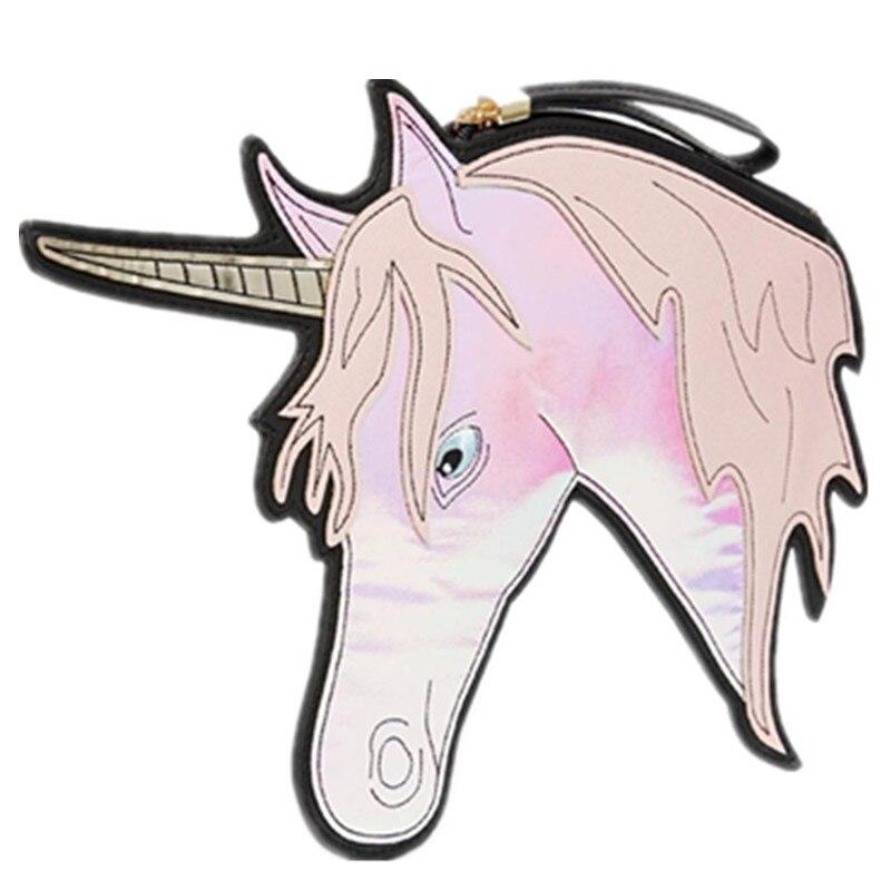 2016 Fun Fashion Personality Laser Unicorn Bags New Look Harajuku Horse Head Modeling Radium Shoote Clutch Purse Promotion Sale