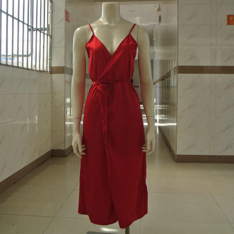 d2b986f2fec6 ... Long Satin Nightgown Comfy Deep V Nightie Sexy A-Line Wrap Slip Split  Party Dresses