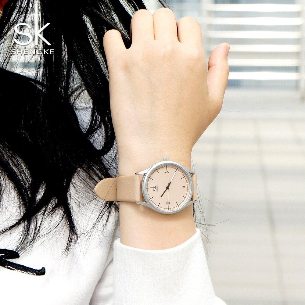 Image 2 - Shengke Лидирующий бренд, кварцевые часы для женщин, Повседневная мода, японский механизм, кожа, аналоговые наручные часы, минималистичный дизайн, Relogio подарокЖенские часы   -