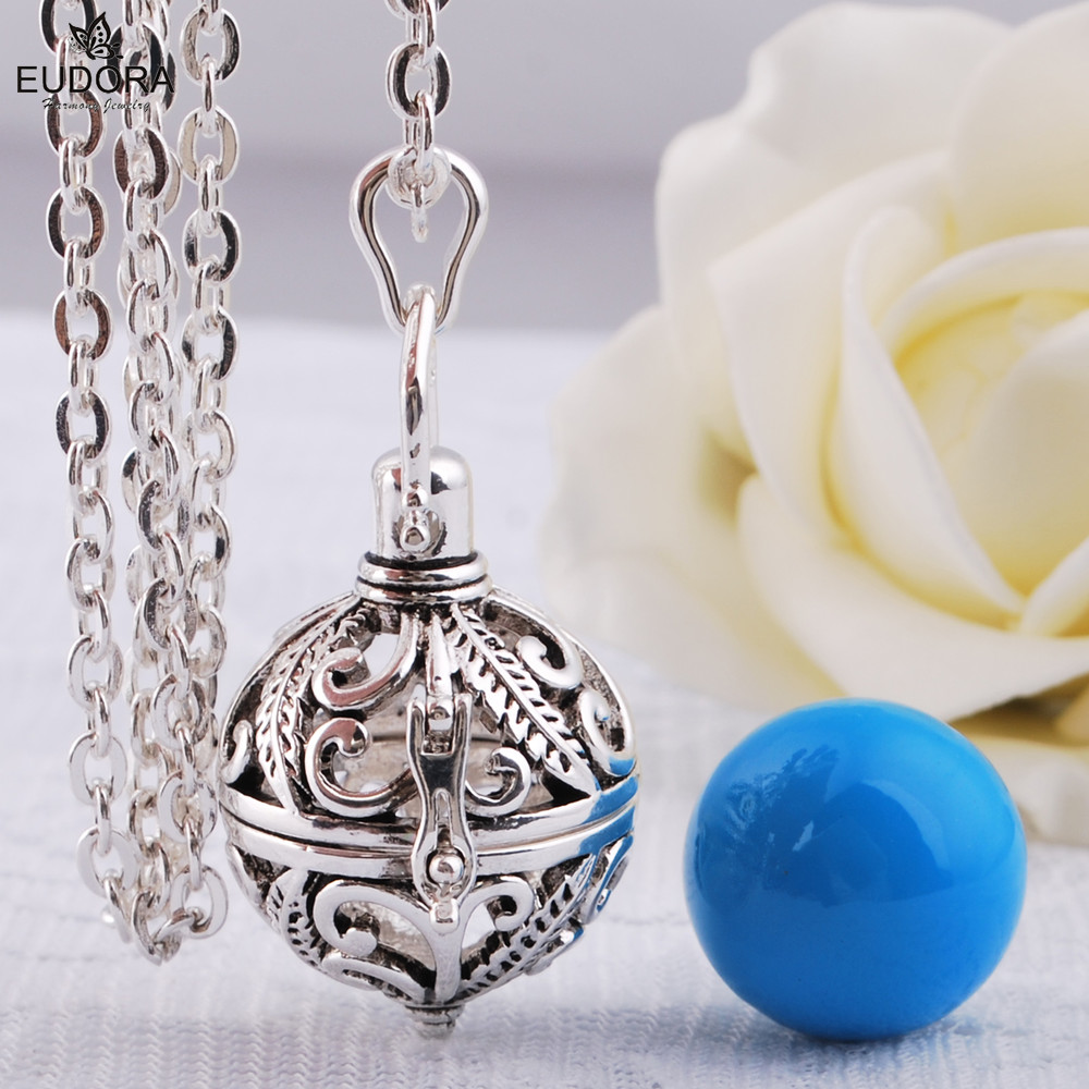 EUDORA Meksikë Harmonia Ball Chime Sound Bola Locket Lage Cage Necklace for Mother Mother varëse Materniteti Bijoux Pendulu