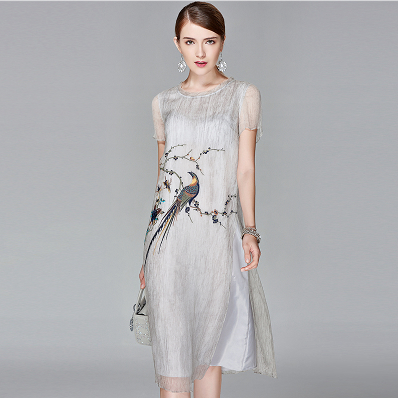 100 Silk Dress Women Exquisite Embroidery Solid O Neck Short Sleeves Straight Elegant Chinese Style New