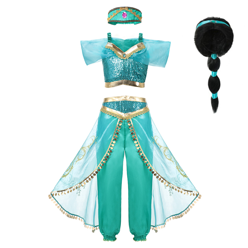 VOGUEON   Girls   Jasmine   Dress   Up 3 Pcs Set Kids Sequined   Flower   Printed Arabian Princess Costume Children Halloween Cosplay Fancy