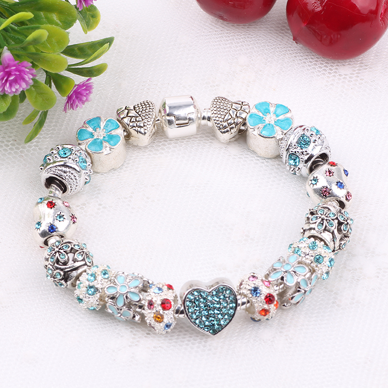 Couqcy Cute Zircon Sky Flower Heart Flower Charms Bracelets DIY Jewelry