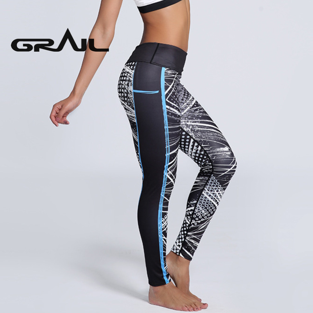 Women Sport Fitness Leggings Pattern Black Yoga Pants Spring Workout Pants New Arrival -2390