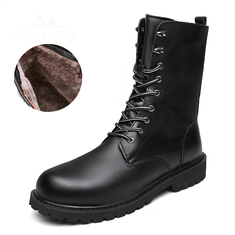 New Fashion Combat Boots Men Winter Warm Footwear Martin Military Desert Boots Men's Leather Ankle Boots Men Snow Boots Big Size 2018 fashion combat boots men winter footwear martin military desert boots men s ankle boots snow shoe work plus size