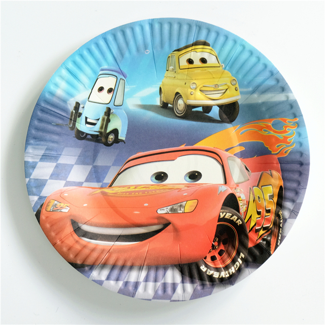 10pcs Lot Paper Plate Cars Kids Birthday Party Supply Event Supplies Decoration Set