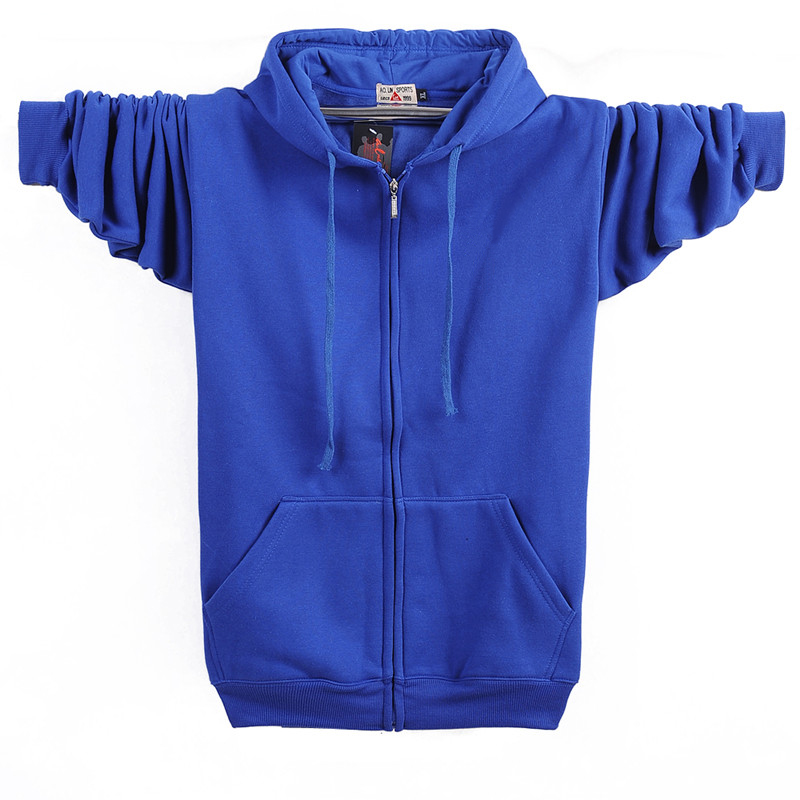 Autumn Winter Fashion Zip-up 95% Cotton Loose Hoody Weatshirt Women Zipper Velvet Long Coat Boyfriend Hooded Blue Plus Size