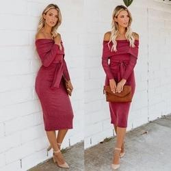 Women's off shoulder printed stripe double Midi Bodycon Dress Belt full sleeve knitted Autumn Winter Slash Neck  Dress 2