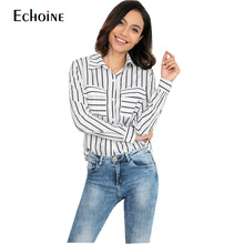 Womens Tops Fashion 2019 Spring Autumn Striped Shirt Women Long Sleeve Blouse Clothes White And Black Blusas