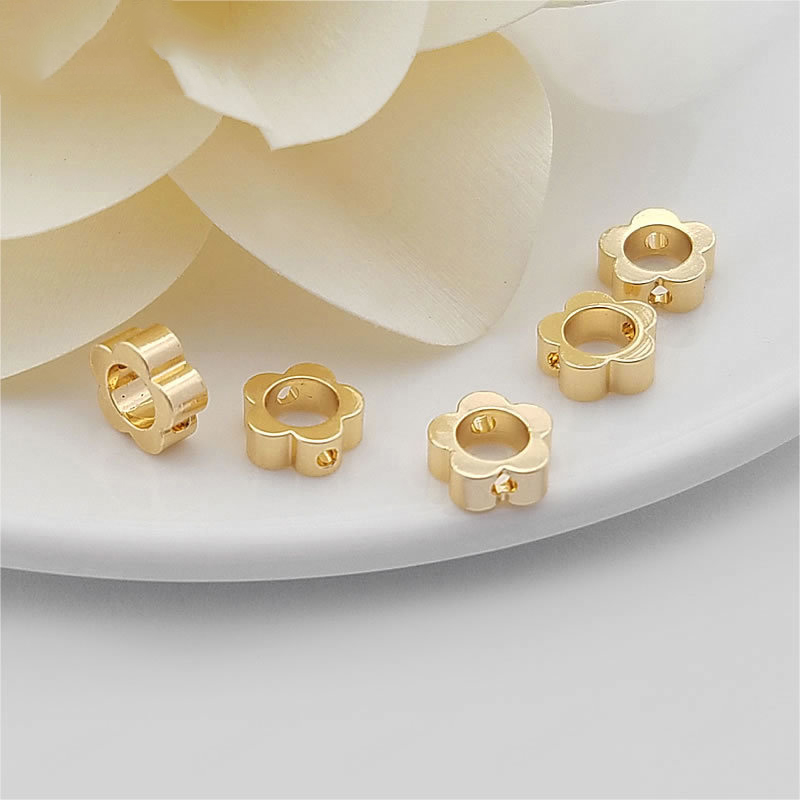 (31728)20PCS 6MM 7.5MM 24K Champagne Gold Color Brass Flower Connector Beads Bracelets Spacer Diy Jewelry Accessories