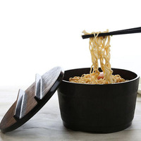 Japanese Soup Noodle Bowl With Lid Black Matte Wood Grain Large Ramen Melamine Bowl Food Container
