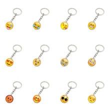Wholesale retail fashion emoji smiley face time precious stones pendant metal glass keychain jewelry for women men girl gift E31