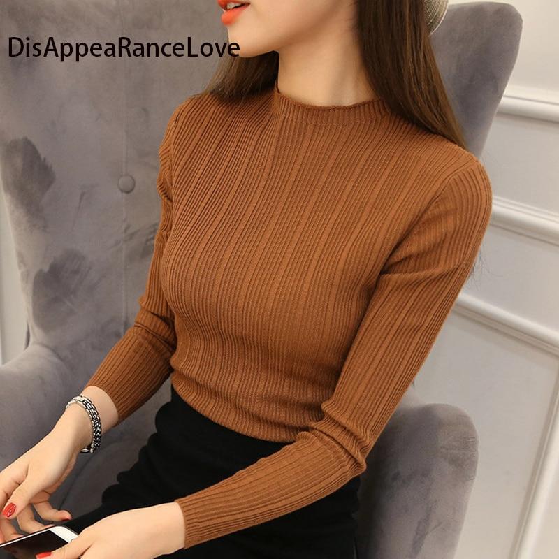 2018 Women Stretch Knit Undershirt Retro Turtleneck Solid Sweater