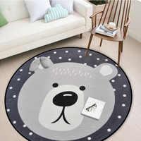 Weiß Grau Cartoon Tiere Bär Fuchs Panda Runde Tapete Für Wohnzimmer Schlafzimmer Wohnkultur Teppich Teppich Kinder Kinder Weichen spielen Matte