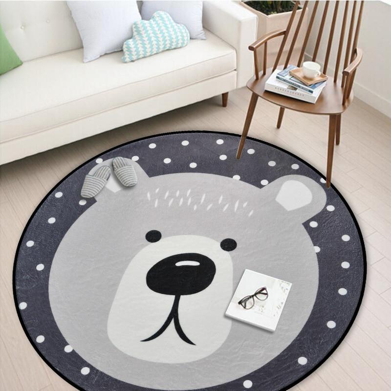 White Grey Cartoon Animals Bear Fox Panda Round Tapete For Living Room Bedroom Home Decor Carpet Rug Children Kids Soft Play Mat