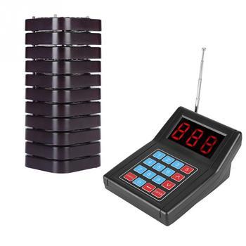 Wireless Coaster Pager sistema de llamadas 10 buscapersonas 999 canales Sistema de buscapersonas para restaurante con pantalla LCD