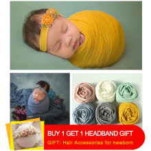 Don&Judy 45*160 cm Stretch Wraps Newborn Photography Props Baby Photo Shoot Accessories Photograph For Studio with Free Headband недорого