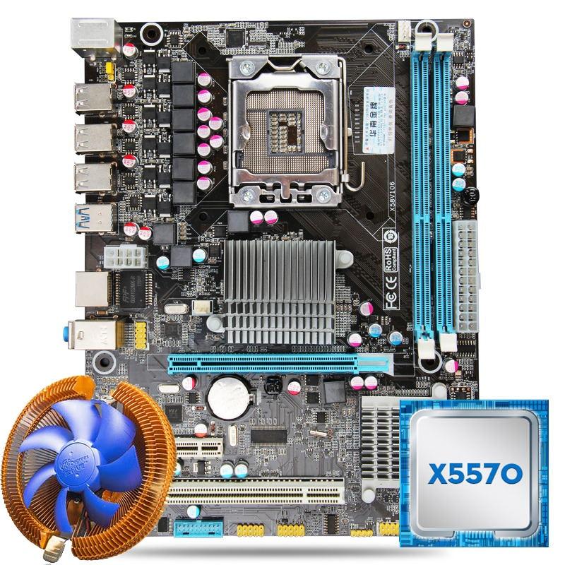 HUANAN X58 motherboard CPU combos with cooler X58 LGA1366 motherboard Intel Xeon X5570 CPU RAM dual