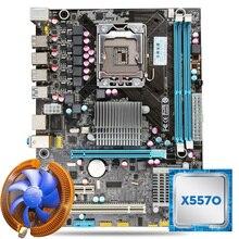 Huanan X58 материнской Процессор комбинации с охладитель X58 LGA1366 Материнская плата Intel Xeon X5570 Процессор Оперативная память двухканальный спереди USB3.0 порт