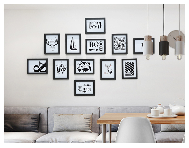 Decorative frame frame wall solid wood frame all black white frame ...