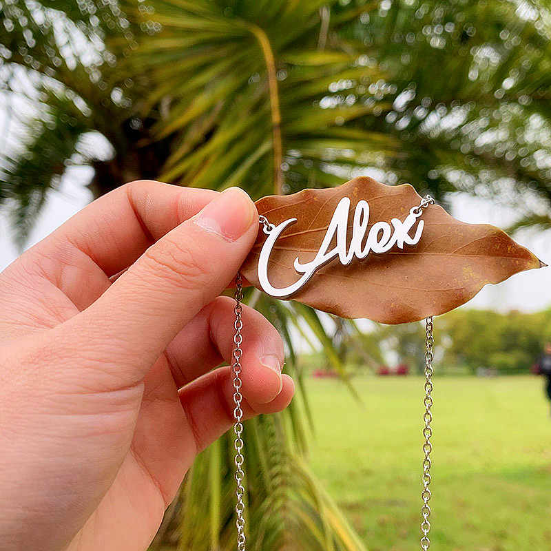 Customized Name Necklace Stainless Steel Custom Personalized Name Choker Letters Necklaces for Women Girls Collar Romantic Gift