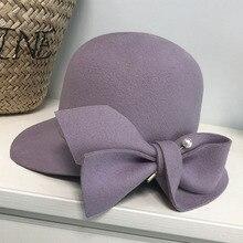 Elegant Formal Women Wool Hat Warm Felt Winter Fedora Hat Pearl Bowknot Cloche Bowler Hat Ladies Party Derby Wedding Church Hat
