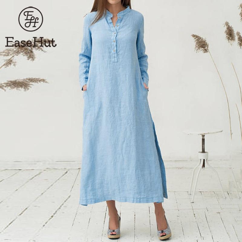 EaseHut White Blue Long Sleeve Maxi Tshirt Dress for Women Stand Collar Buttons Slit Casual Long Dress Plus Size Autumn Dresses