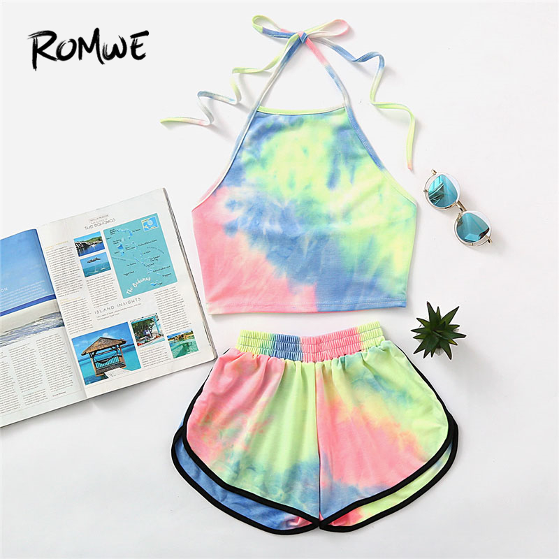 ROMWE Halter Neck Water Color Crop Top With Ringer Shorts 2018 Summer Sleeveless Tie Dye Shorts New Arrival Women Sets tie dye halter top
