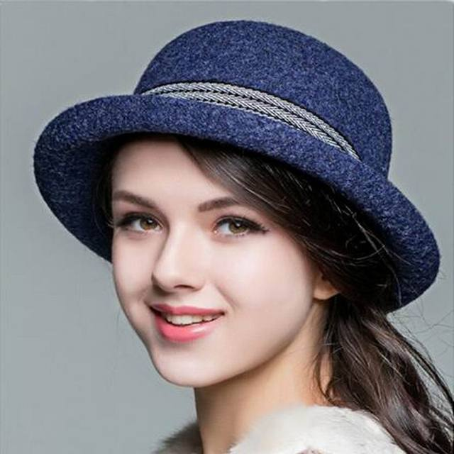 71c48d77630 New Arrival Wool hat Autumn Winter Noble European American Elegant Girls  Fashion Cap Ladies Bucket Hat Women Wool Fedora Hat