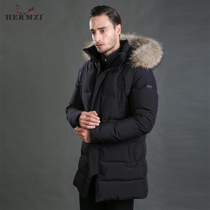 HERMZI 2017 Winter Jackets Mens Padded Coat Parka Men Thick Black Winter Coat Raccoon Fur Collar European Size 4XL Free Shipping 2017 slim fit fashion mens fur parka mens jackets and coats black blue jaquetas masculina inverno cotton padded parka homme