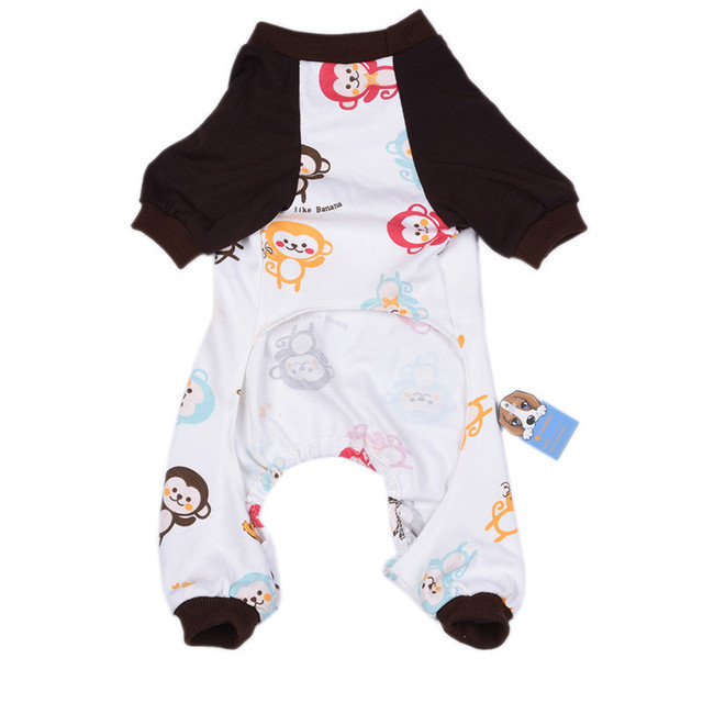 Lovely Monkey Printing Dog Pajamas Soft Warm Cozy Pets Cat Puppy Sleeping Jumpsuits Romper Clothes Puppy Dogs Clothing 2017