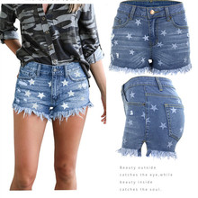 Summer Explosion Hot Pants Womens Jeans Casual High Waist Star Pattern Stretch Hole Slim Sexy Cowgirl Shorts
