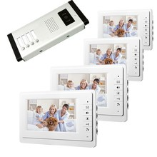 hot deal buy 7inch video door phone intercom system for apartment tft lcd screen 4 flat indoor monitors with night vision cmos outdoor camera