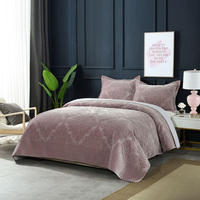 Luxury Flannel Bedspreads Quilt Set 3pcs Winter Cotton Quilts Embossed Bed Cover Reversible Queen Size Embroidered Plush Blanket|Quilts| |  -