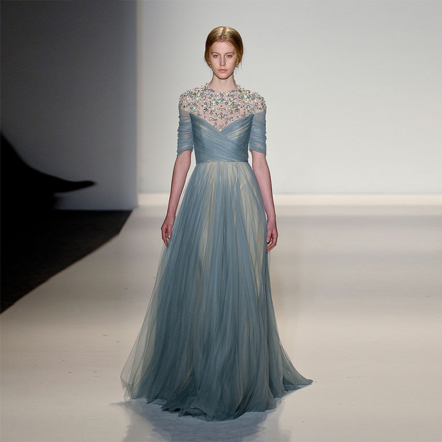 Limit Discount 2016 Boho Blue Gray Tulle A Line Evening Dress In ...