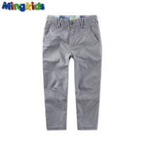 Mingkids Boy Cargo Pants Spring Summer Baby Boy Leisure Cotton Trousers Grey Outdoor Pants Trackpants European