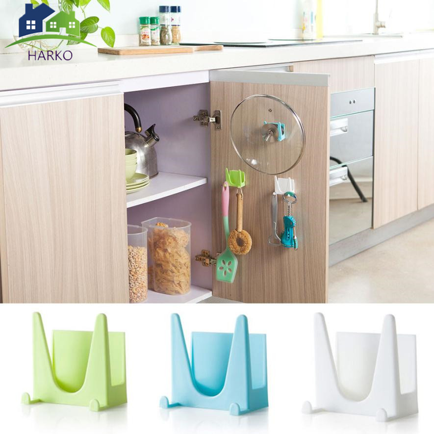 Hot Selling Plastic Kitchen Accessories Pot Pan Cover Shell Cover Sucker Tool Bracket Storage Rack Holding Storage Holder Rack