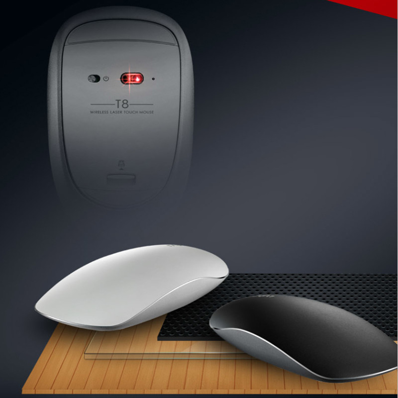 лучшая цена Rapoo T8 5G Laser Wireless Silent Touch Mouse Top Design Professional Ergonomic Business Magic Gaming Mice For laptop computer
