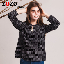 Falacs Zozo Long Sleeve Slit Open Women Blouse Polka Dots Shirt Top Hollow Sexy Casual Shirt Plus Size Women Tops Blusas bluse