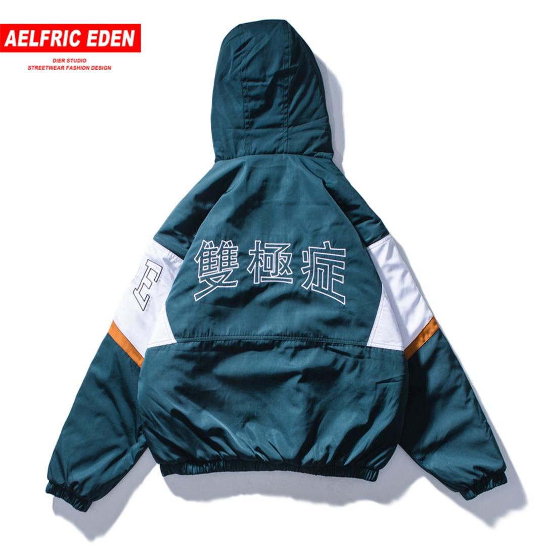 Aelfric Eden Bomber Jacket Men Vintage Color Block Hoodies Thick Parka Streetwear Harajuku Hip Hop Warm Jackets Windbreaker Et36