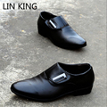 LIN KING New Business Men Shoes British Style Solid PU Pointed Toe Flats Shoes Wedding Low Top Office Dress Oxfords Shoes