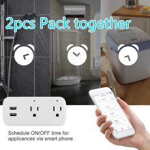 2pcs pack Smart Wifi Power Strip Surge Protector Multiple Power Sockets Voice Control for Amazon Echo Alexas Google Home Timer